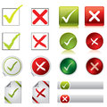 Tick and cross stickers, buttons, and symbols Royalty Free Stock Photo