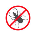 Tick insect silhouette. Mite deer ticks icon. Dangerous black parasite. Prohibition no symbol Red round stop warning sign. White b