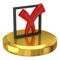 Tick sign on gold podium Stock Image