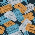 Ticket admit one seamless pattern Royalty Free Stock Photo