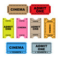 Ticket admit one - set Royalty Free Stock Photo