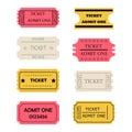 Ticket admit one set Royalty Free Stock Photo