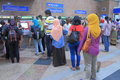 Ticket machine queue kuala lumpur people for machines at kl sentral station in malaysia Royalty Free Stock Photo