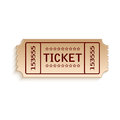 Ticket out of cardboard on white background Royalty Free Stock Photography