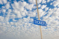 Ticket sign post  outdoor Stock Photos