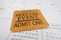 Ticket stub closeup of a special event on a calendar Stock Photography
