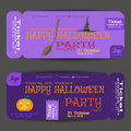 Ticket to a Halloween party on the lilac background vector illustration.