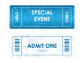 Tickets in different styles admit one for your party Stock Image