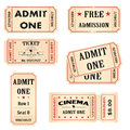 Tickets isolated set of cinema theater and events admission Stock Photo