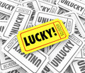 Tickets lucky versus unlucky words raffle contest winner odds ch golden ticket defeats vs losers in a or fundraising Stock Images