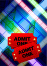 Tickets with multi color film reel background Royalty Free Stock Images