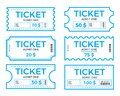 Tickets set, vector illustration in the flat style. Ticket stub isolated on a background. Retro cinema or movie tickets Royalty Free Stock Photo