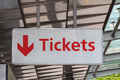 Tickets sign a signalling a ticket point of sale Stock Photo