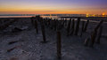 Tidal defences at dusk on a beach with rows of exposed poles to stabilise the sand on the shoreline and prevent erosion Royalty Free Stock Image