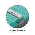 Tidal power renewable energy sources part isometric illustration of a generator works in small size Royalty Free Stock Photography