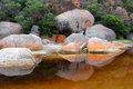 Tidal river lichen boulders and reflections in wilson s promontory victoria australia Royalty Free Stock Image