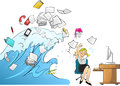Tidal wave of work woman version workload in the office Royalty Free Stock Photos