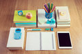 Tidy student desktop perfectly school stationery on wooden surface Stock Images