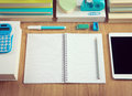 Tidy student desktop perfectly school stationery on wooden surface Royalty Free Stock Photography