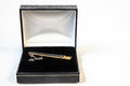 Tie clip in box a on a white background Royalty Free Stock Photo
