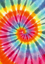 Tie dye rainbow color spiral fabric isolated on white background Royalty Free Stock Photo