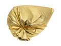 Tied gold gift bag on white background Royalty Free Stock Photo