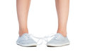Tied shoe laces prank Royalty Free Stock Photo