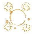 Tiempo ring stains del té del café y relojes Foto de archivo libre de regalías