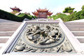 Tien Hou temple with dragon carving Royalty Free Stock Photos