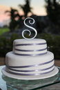 Tiered wedding cake outdoors Royalty Free Stock Photo