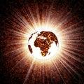 Tierra que brilla intensamente Fotografía de archivo libre de regalías