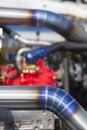 Tig welded stainless steel pipe in racing car diesel Royalty Free Stock Photos