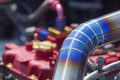 Tig welded stainless steel pipe in racing car turbocharger Royalty Free Stock Photography