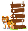 A tiger at the back of a signboard illustration on white background Stock Photos