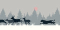 Tiger chasing deer editable vector illustration of a siberian through snow Stock Image