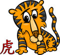 Tiger chinese zodiac horoscope sign cartoon illustration of Royalty Free Stock Photo