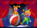 A tiger and a clown performing at the stage illustration of Stock Photo