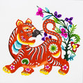 Tiger, color paper cutting. Chinese Zodiac. Royalty Free Stock Photo