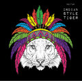 Tiger in the colored Indian roach. Feather headdress of eagle. Hand draw vector  illustration Royalty Free Stock Photo