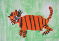 Tiger cub red child picture Royalty Free Stock Photography