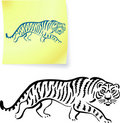 Tiger drawing on post it notes Royalty Free Stock Image