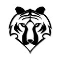 Tiger face in black and white simplified vector illustration with depth Royalty Free Stock Photos