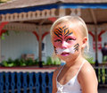 Tiger face paint Portrait Royalty Free Stock Photography