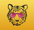 Tiger face with pink glasses on yellow gradient background Stock Image
