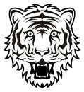 Tiger face stylized black and white Royalty Free Stock Image