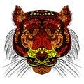 Tiger head Colored hand drawn zentangle design.