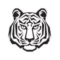 Tiger head silhouette sign. Tiger head tattoo art. Royalty Free Stock Photo