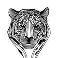 Tiger head silhouette vector animal illustration for t shirt sketch tattoo design Royalty Free Stock Images