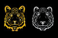 Tiger head silhouette vector illustration isolated on black background Stock Photography