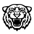 Tiger head tattoo black and white stylized vector illustration Stock Photo
